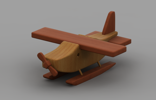 Rendering of wooden toy plane model