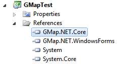 Adding references to GMap.NET