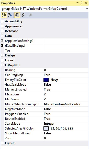 Properties of the GMap.Net control