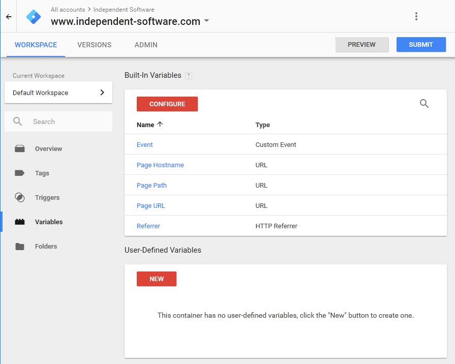Variables in the Google Tag Manager