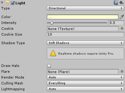 A Unity directional light with soft shadows
