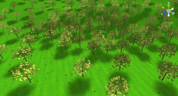A Unity terrain with a baked lightmap
