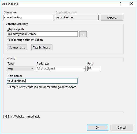 Creating a site in IIS
